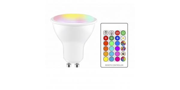 Bombilla LED GU10 3W RGB más Blanco Cálido, Ángulo 120º