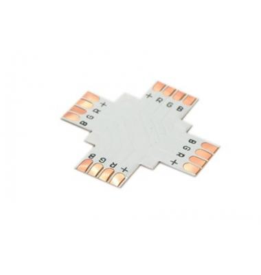 Unión conector 4 tiras RGB Cruz. Tiras 10mm