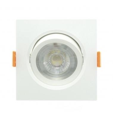 Foco Empotrar LED Cuadrado Aurora Blanco 7W - 620Lm. Direccionable. Blanco Natural. Ángulo 40º