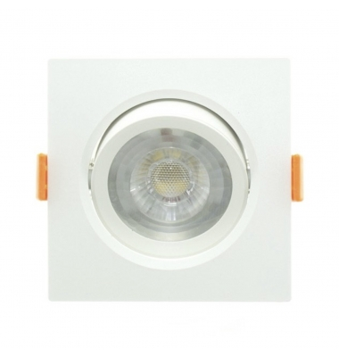 Foco Empotrar LED Cuadrado Aurora Blanco 7W - 620Lm. Direccionable. Blanco Cálido. Ángulo 40º