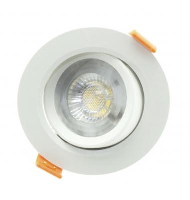 Foco Empotrar LED Redondo Roof Blanco 7W - 620Lm. Direccionable. Blanco Cálido. Ángulo 40º