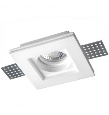Foco Yeso Cuadrado LED Plaster. Sistema Bombilla LED GU10