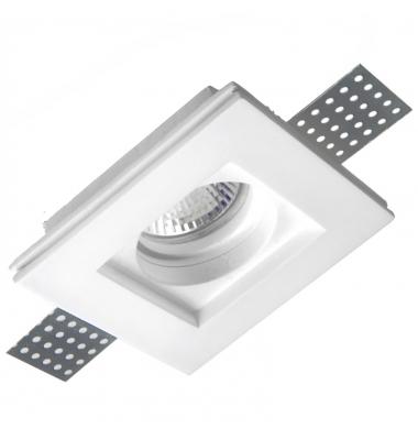 Foco Yeso Cuadrado LED Interior Plaster. Sistema Bombilla GU10
