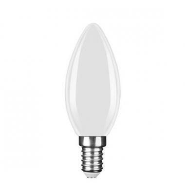 Bombilla LED E14 C35 Vela 4W. 2700k - Cálida. Acabado Blanco. Ángulo 360º