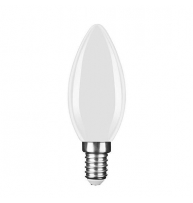Bombilla LED E14 C35 Vela 4W. Natural. Acabado Blanco. Ángulo 360º