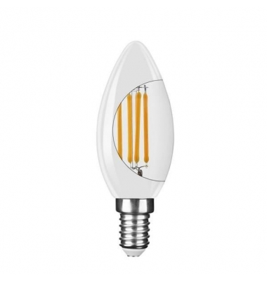 Bombilla LED E14 C35 Vela 4W. 4000k - Natural. Acabado Blanco. Ángulo 360º