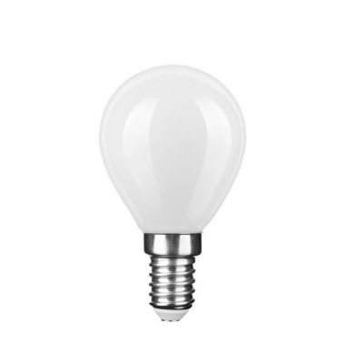 Bombilla LED E14 G45 Esférica 4W. Cálida. Acabado Blanco. Ángulo 360º