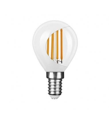 Bombilla LED E14 G45 Esférica 4W. 2700k - Cálida. Acabado Blanco. Ángulo 360º