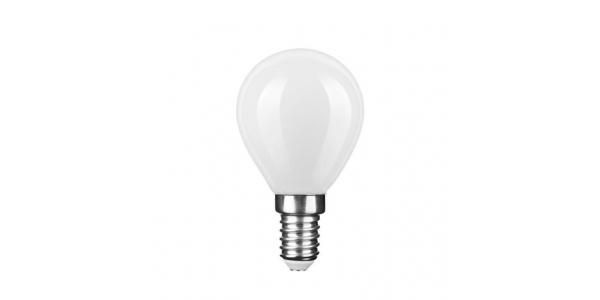 Bombilla LED E14 G45 Esférica 4W. Natural. Acabado Blanco. Ángulo 360º