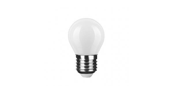 Bombilla LED E27 G45 Esférica 4W. Cálida. Acabado Blanco. Ángulo 360º