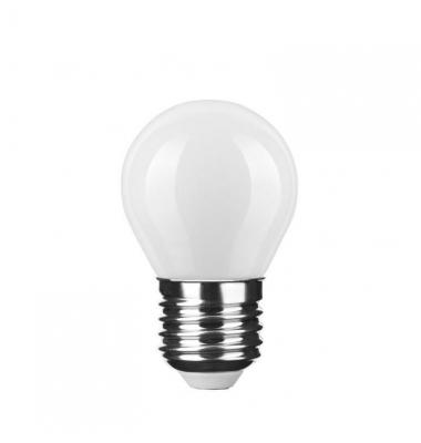 Bombilla LED E27 G45 Esférica 4W. 4000k - Natural. Acabado Blanco. Ángulo 360º