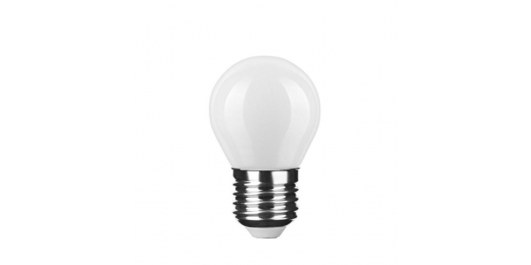 Bombilla LED E27 G45 Esférica 4W. Natural. Acabado Blanco. Ángulo 360º