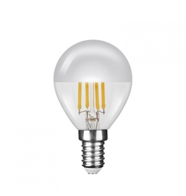 Bombilla LED E14 P45 Silver Top Esférica 4W. Cálida. Transparente. Ángulo 320º