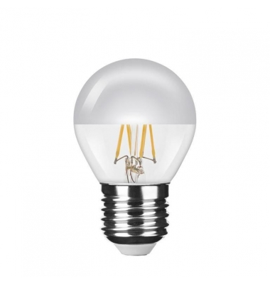 Bombilla LED E27 P45 Silver Top Esférica 4W. Cálida. Transparente. Ángulo 320º