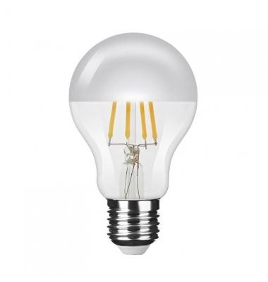 Bombilla LED E27 A60 Silver Top Estándar 4W. Cálida. Transparente. Ángulo 320º