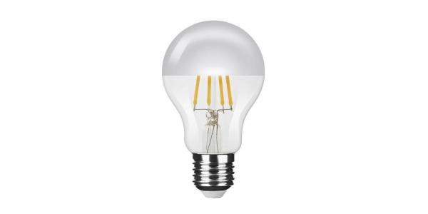 Bombilla LED E27 A60 Silver Top Esférica 4W. Cálida. Transparente. Ángulo 320º