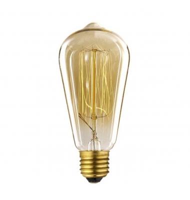 Bombilla Decorativa E27 ST58 Edison Regulable. 40W. Filamento Carbono. Blanco Cálido 2000k.