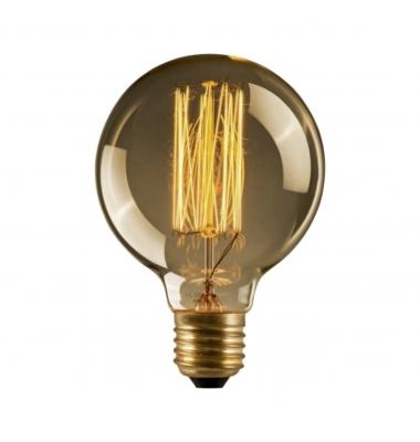 Bombilla Decorativa E27, G125, Edison, Regulable, 40W, Filamento Carbono, 2000k, Blanco Cálido