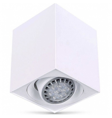 Foco Superficie Orientable LED Surfy Cubo. Bombilla Reflectora R90. Blanco Mate.
