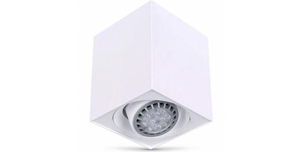 Foco Superficie Orientable LED Surfy Cubo. Bombilla Reflectora R90. Blanco Mate.