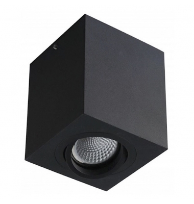 Foco Superficie Orientable LED Surfy Cubo. Bombilla Reflectora R90. Negro Mate.