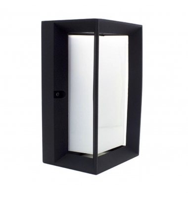 Aplique Pared Rectangular Exterior e Interior LED. Color Negro. 1*E27. IP54