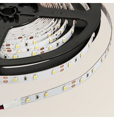 Tira LED 4,8W/m. 12VDC, SMD3528. Carrete 5 metros. 60 LEDs/m. Interior-IP20