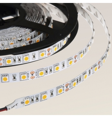 Tira LED 14,4W/m. 12VDC, SMD5050. Carrete 5 metros. 60 LEDs/m. Interior-IP20