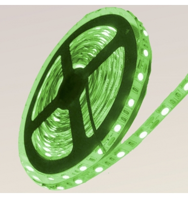 Tira LED Verde 14,4W x metro.12VDC, SMD5050. Rollo 5 metros. 60 LEDs/metro. Uso Interior y Espacios Húmedos - IP65