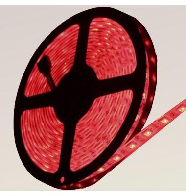 Tira LED Roja 14,4W x metro.12VDC, SMD5050. Rollo 5 metros. 60 LEDs/metro. Uso Interior y Espacios Húmedos - IP55