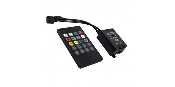 Controlador Musical Tiras RGB 5V/12V/24V. Control Remoto