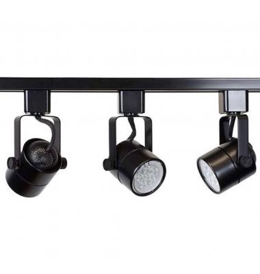 Foco Carril Orientable Monofásico, Tip, Negro, Para Bombillas LED GU10