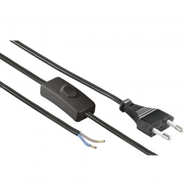 Cable de corriente con clavija e Interruptor Negro. 2 x 0.75mm. Longitud 1.5 metros