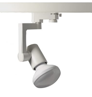 Foco Carril Orientable Trifásico Blanco R90 12W LED. 3 encendidos. Ángulo 180º
