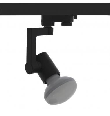 Foco Carril Orientable Trifásico Negro R90 12W LED. 3 encendidos. Ángulo 180º