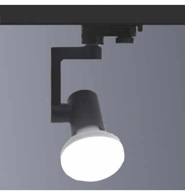 Foco Carril Orientable, Negro Mate, 3 encendidos, LED R90 12W. Ángulo 180º