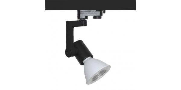 Foco Carril Orientable Trifásico Negro PAR30 12W LED. 3 encendidos. Ángulo 35º