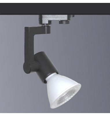 Foco Carril Orientable, Negro Mate, 3 encendidos, LED PAR30 12W. Ángulo 35º