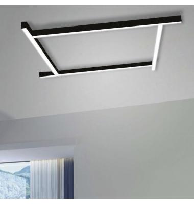 Plafón Lineal Ti-Zas Negro de la marca Olé by FM. LED 13W. Longitud 85 cm.