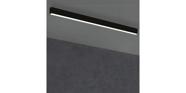 Plafón Lineal Ti-Zas Negro de la marca Olé by FM. LED 22W. Longitud 141 cm.