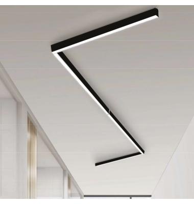 Plafón Lineal Ti-Zas Negro de la marca Olé by FM. LED 35W. Longitud 225 cm.