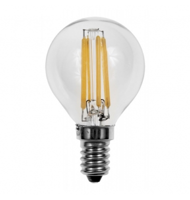 Bombilla LED E14 G45 Esférica 4W. 2700k - Cálida. Ángulo 360º