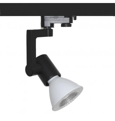 Foco Carril Orientable Monofásico Negro PAR30 12W LED. 1 encendido. Ángulo 35º