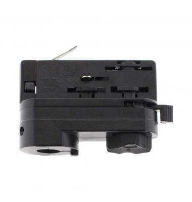 Conector Adaptador Carril Trifásico Negro. Colgantes, Proyectores