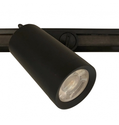 Foco Carril Negro LED Zamak. Para Bombillas GU10