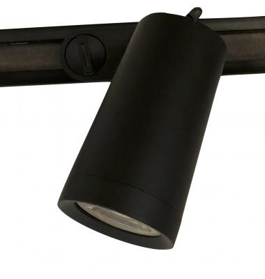 Foco Carril LED Bifásico, Zamac, Negro. Para Bombillas GU10