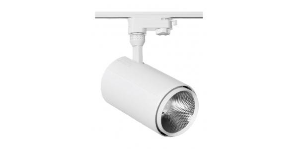 Foco Carril LED Altair 20W, Blanco Mate, Trifásico, 3 encendidos, Ángulo 24º, LED Citizen, Eléctronica Tridonic