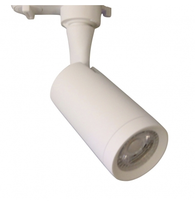 Foco Carril Blanco LED Zamak. Para Bombillas GU10