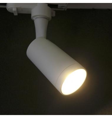 Foco Carril LED Bifásico, Zamac, Blanco. Para Bombillas GU10