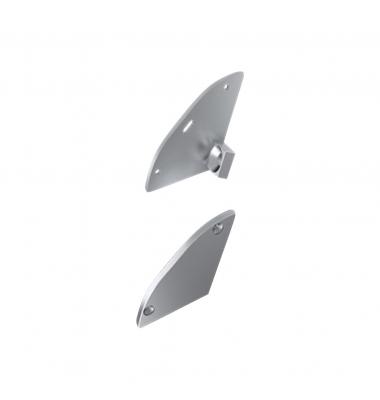 Tapas laterales de cierre Perfil Signal Ángulo 30º. Plata. Aluminio. Con Agujero